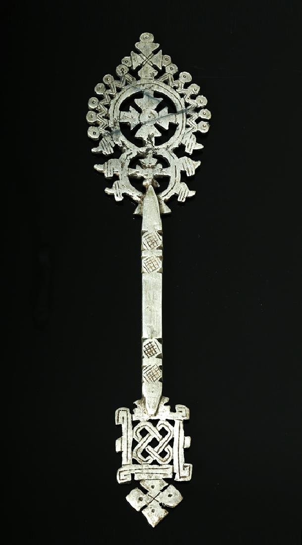 19th C. Ethiopian Silvered Bronze Processional Cross - 2