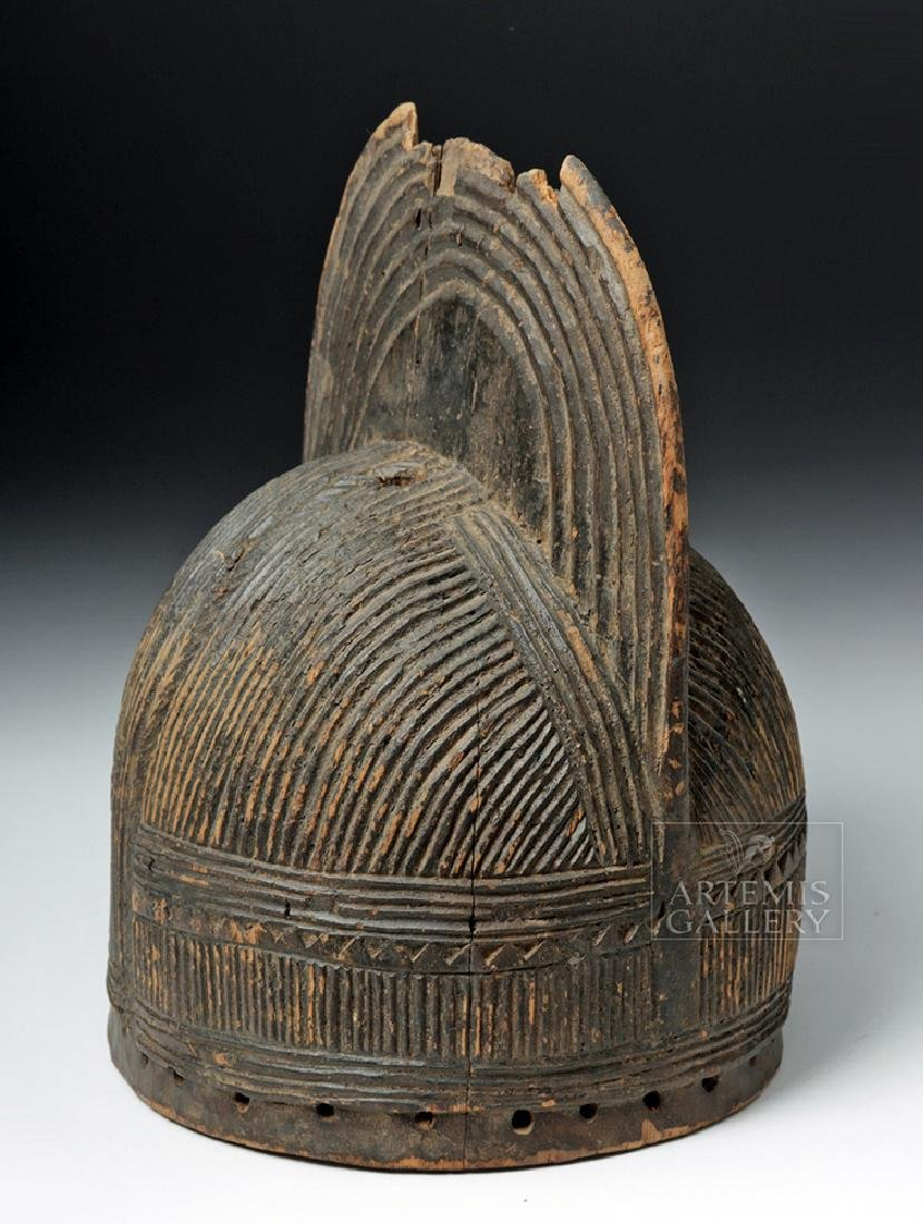 20th C. African Igbo Wooden Crested Dance Helmet Mask