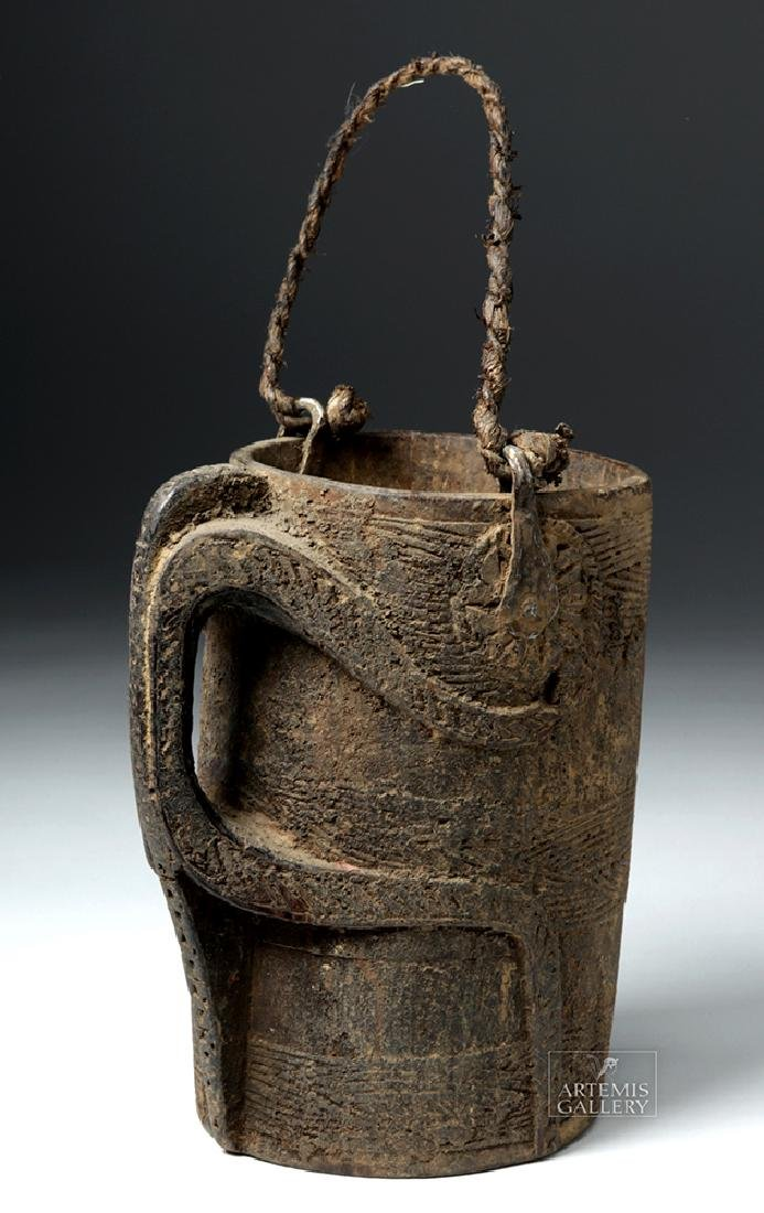 Huge Early 20th C African Wooden Drinking Vessel