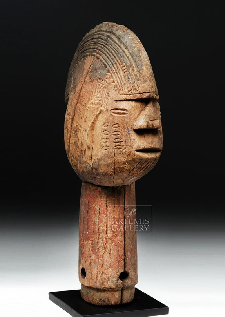 Large Mid 20th C. African Wooden Head Finial