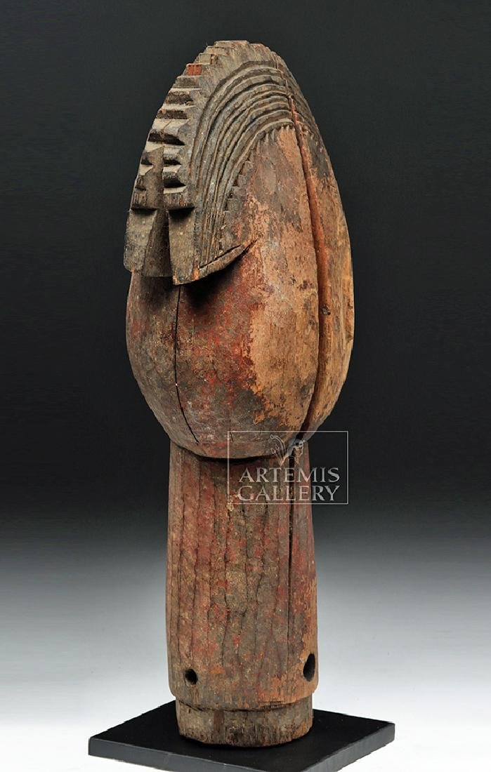 Large Mid 20th C. African Wooden Head Finial - 3