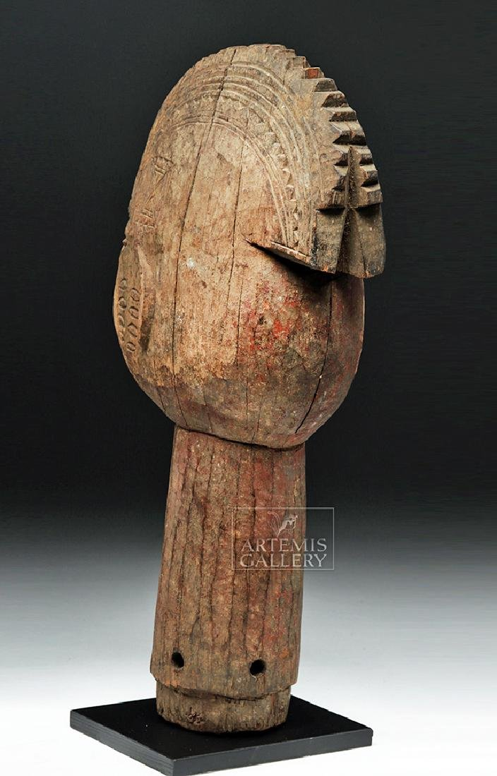 Large Mid 20th C. African Wooden Head Finial - 4