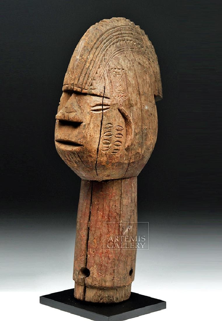 Large Mid 20th C. African Wooden Head Finial - 5