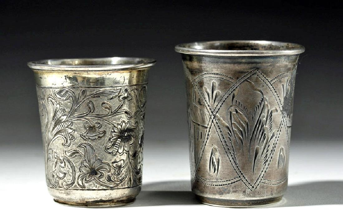 19th C. Russian + Polish Engraved Silver Vodka Cups (2)