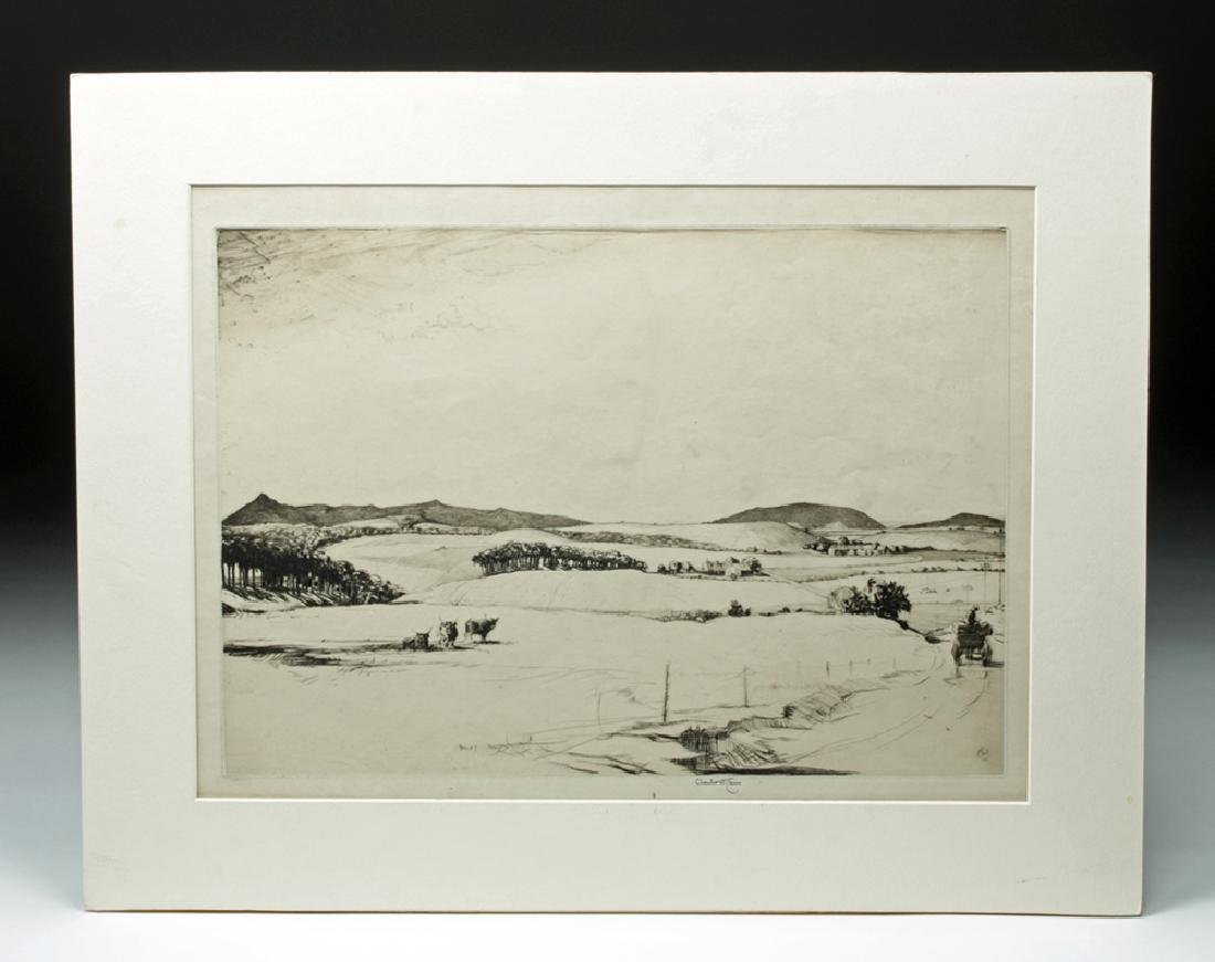 Signed Charles Cain Etching [Pastoral Vista], ca. 1925