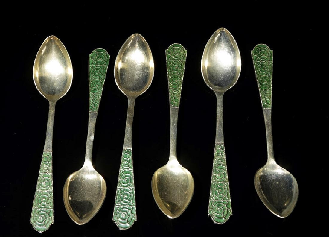 20th C. Soviet Gilt Silver w/ Enamel Spoon Set (6)