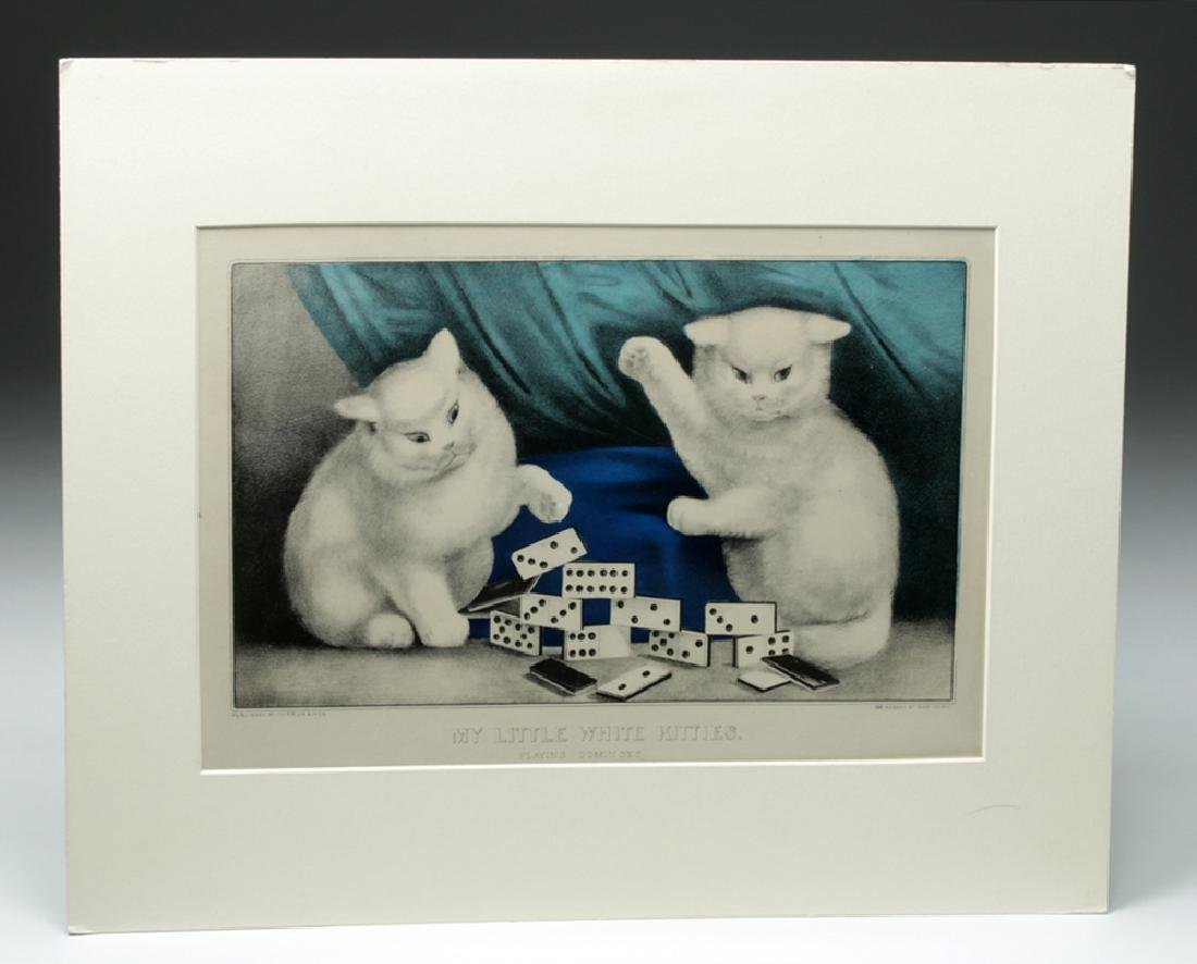 "19th C. Currier & Ives Print, ""My Little White Kitties"""