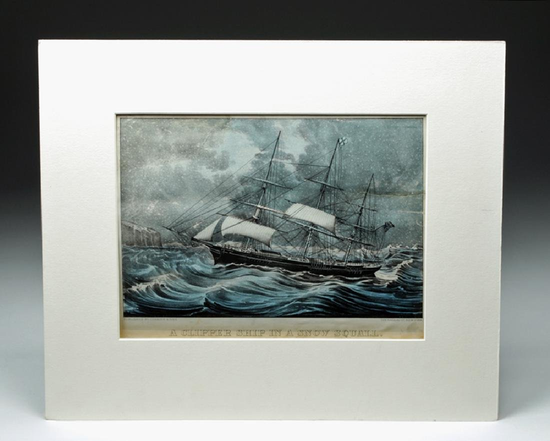 "1872 Currier & Ives ""A Clipper Ship In A Snow Squall"""
