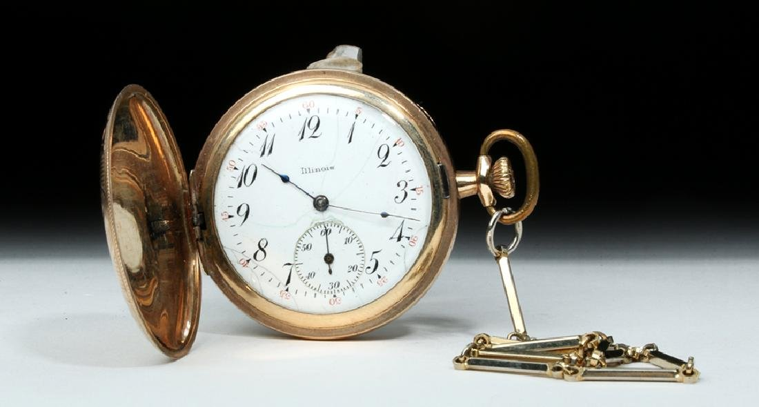 """Early 20th C. USA Gold-Plated """"Illinois"""" Pocket Watch"""