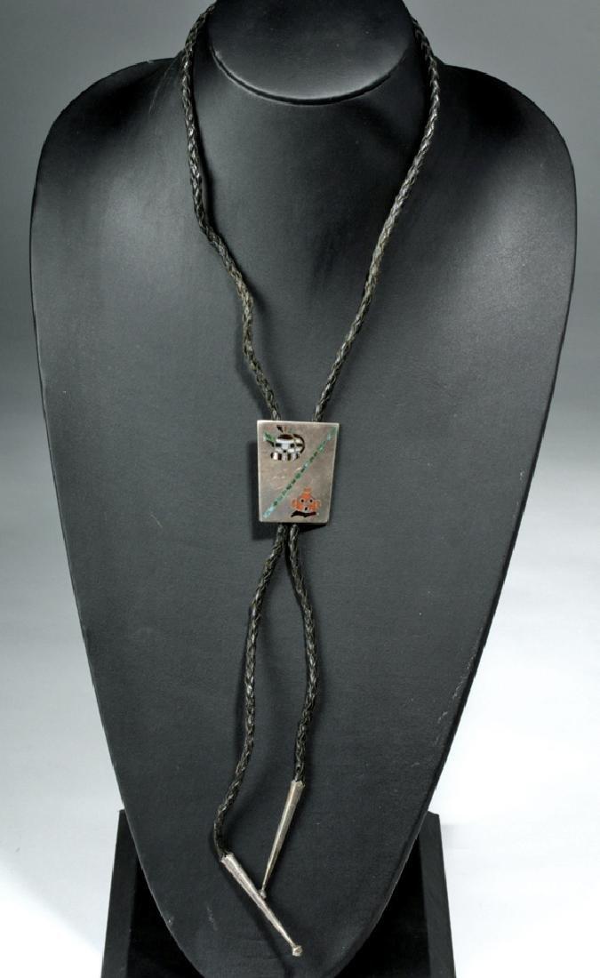 Vintage Navajo Silver & Stone Bolo Tie - Katsina Motif