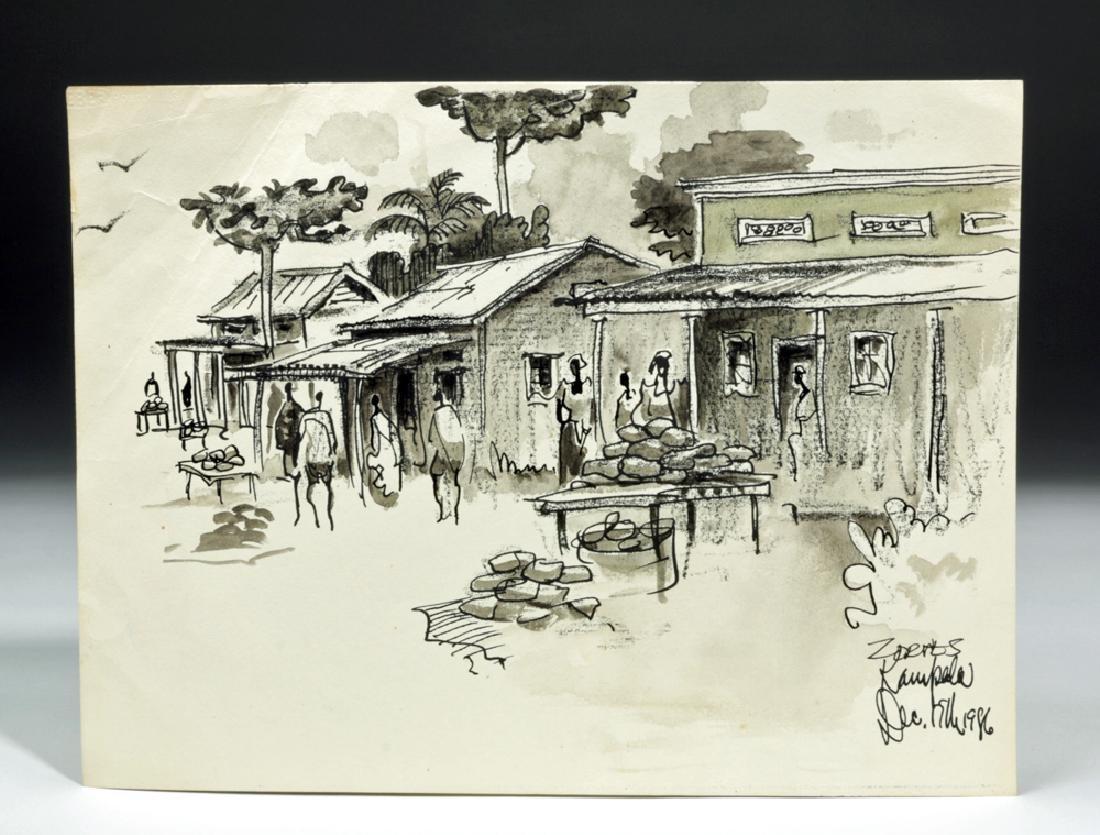 "Signed Zornes 1986 Watercolor & Ink - ""Kampala"""