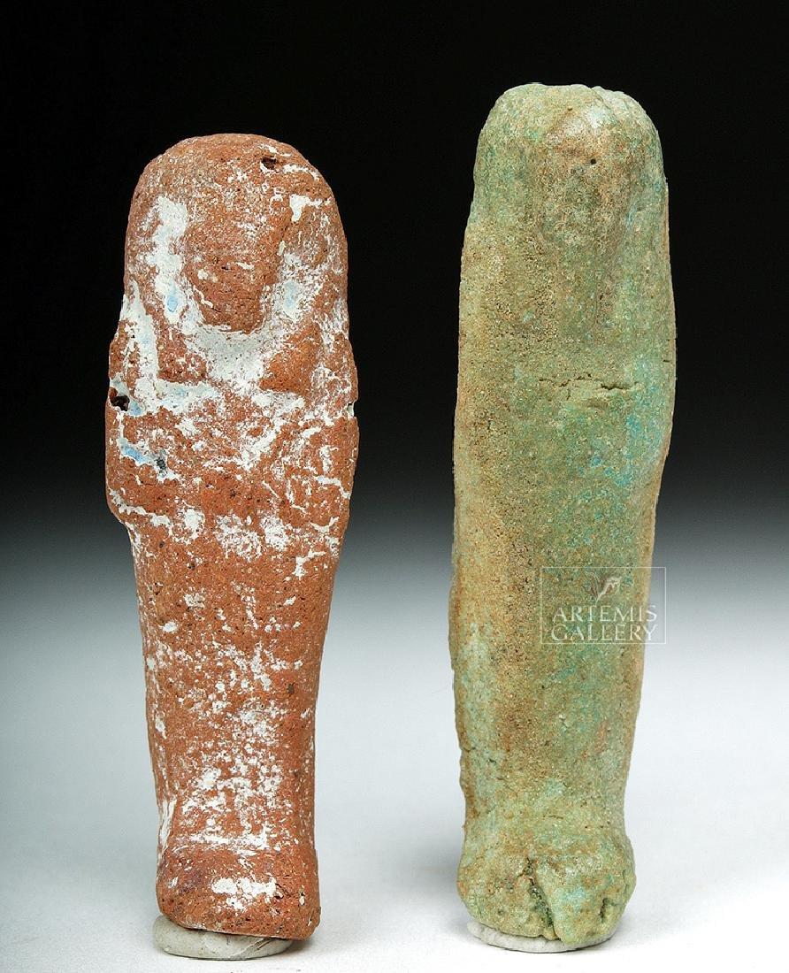 Pair of Miniature Egyptian Ushabtis - Faience, Ceramic