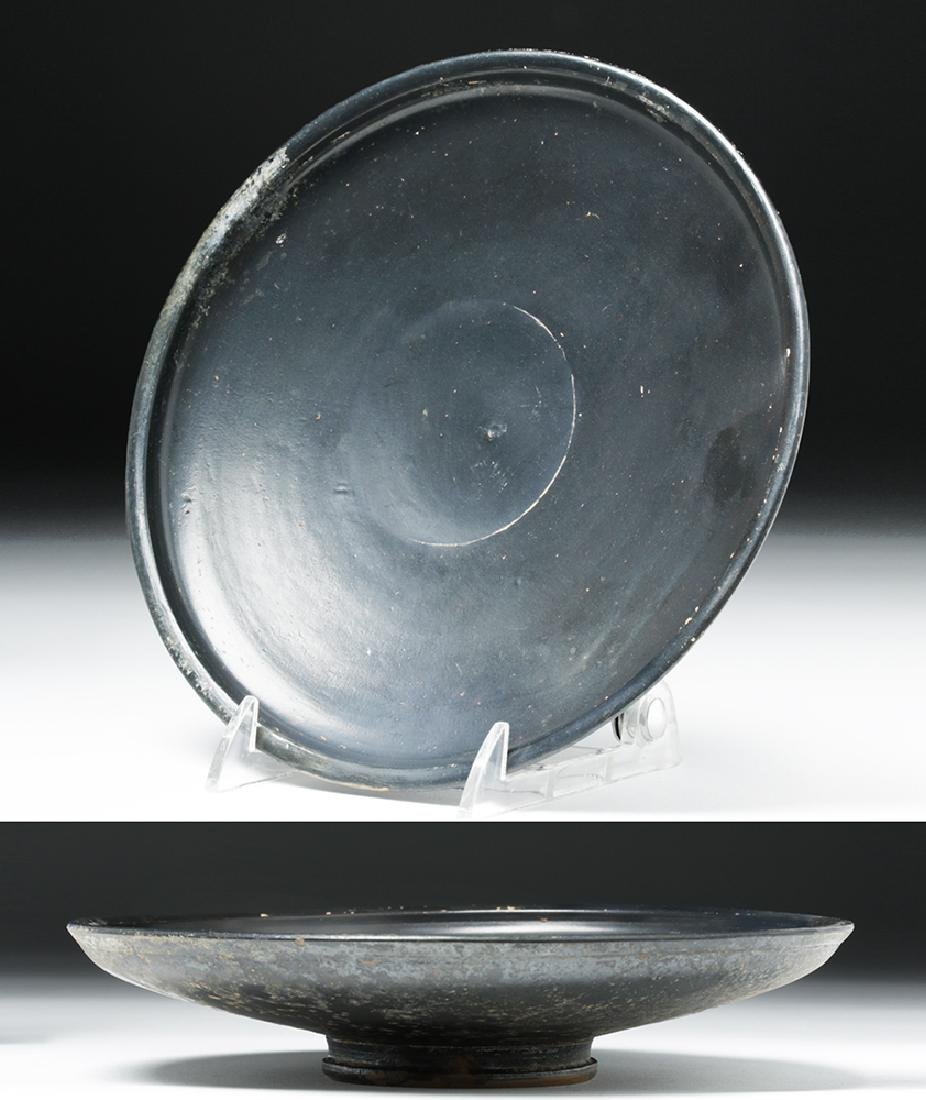 Greek Campanian Blackware Footed Plate