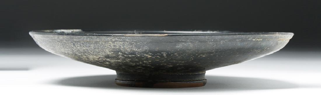 Greek Campanian Blackware Footed Plate - 4