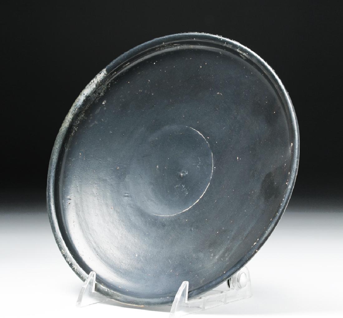 Greek Campanian Blackware Footed Plate - 5