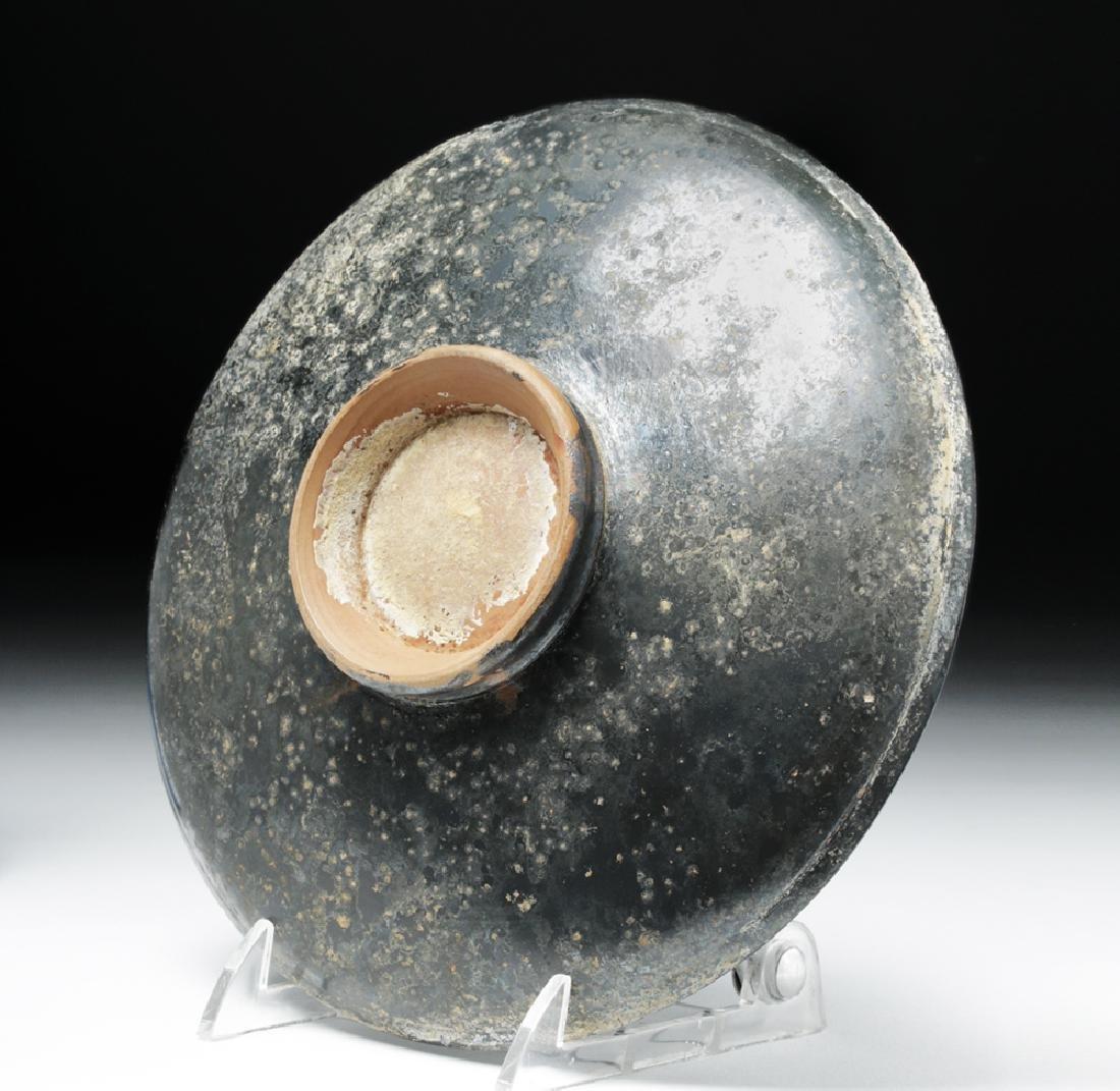 Greek Campanian Blackware Footed Plate - 6
