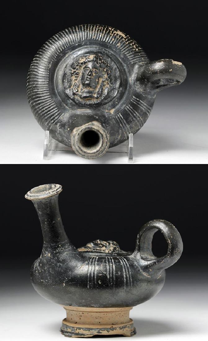Greek Campanian Blackware Guttos - Male God
