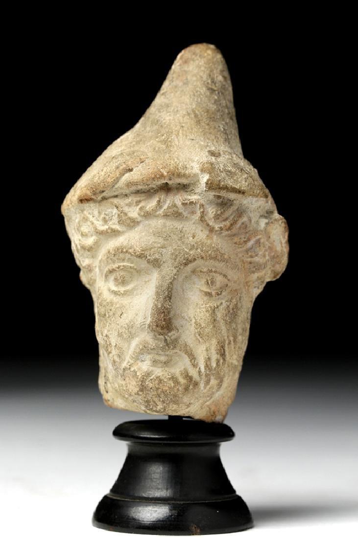 Greek Hellenistic Terracotta Male Head w/ Pilos Helmet