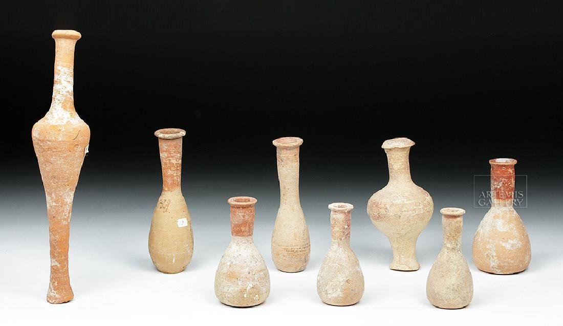 Lot of 8 Hellenistic Terracotta Pottery Spindle Vessels