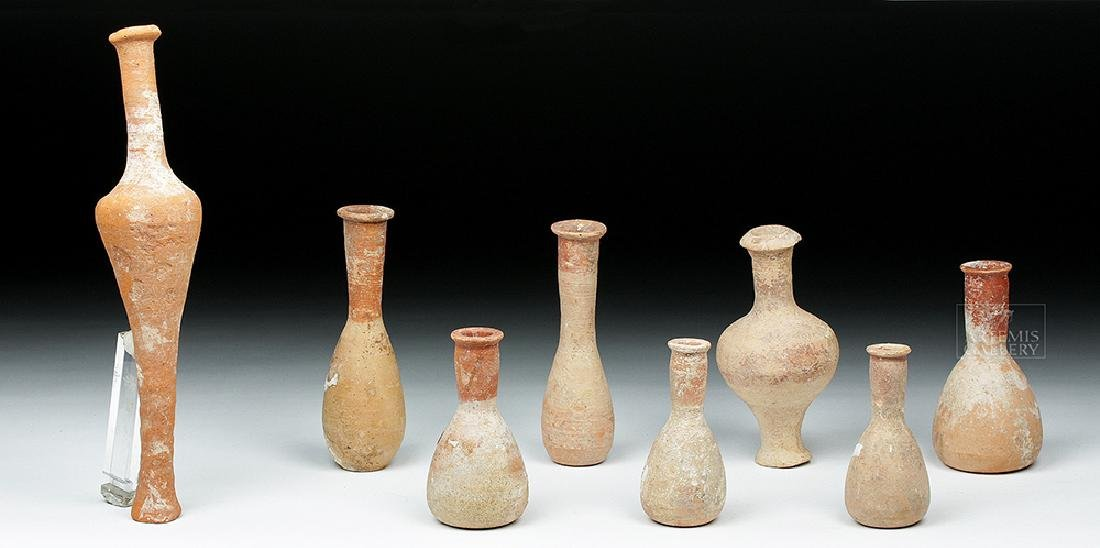 Lot of 8 Hellenistic Terracotta Pottery Spindle Vessels - 3