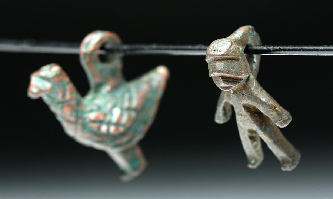 Lot of 2 Roman Bronze Amulets - Bird + Human Figure - 3