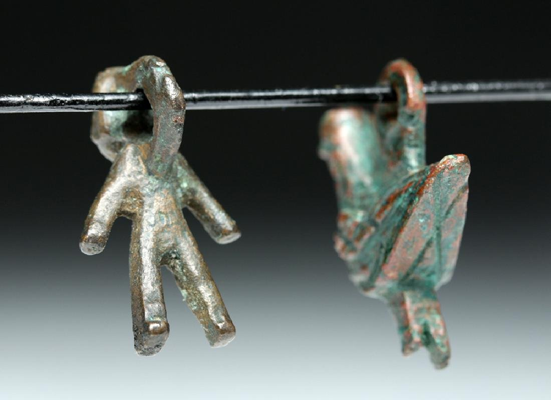 Lot of 2 Roman Bronze Amulets - Bird + Human Figure - 5