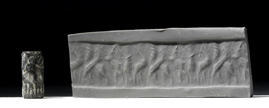 Sumerian Black Limestone Cylinder Seal