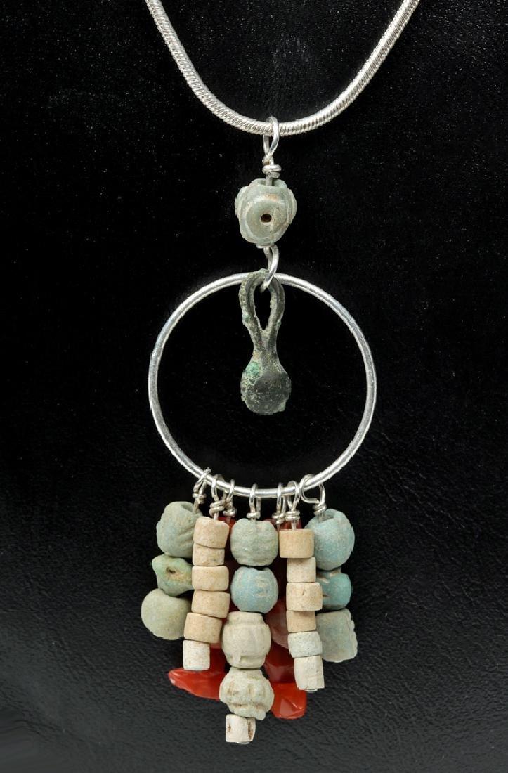 Necklace w/Sumarian Carnelian, Faience, Copper Beads