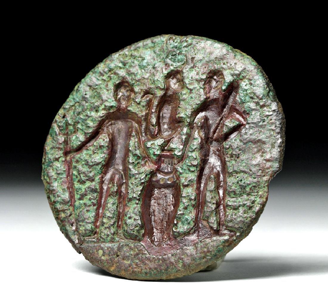 Early Anatolian Bronze Stamp Seal w/ Three Figures