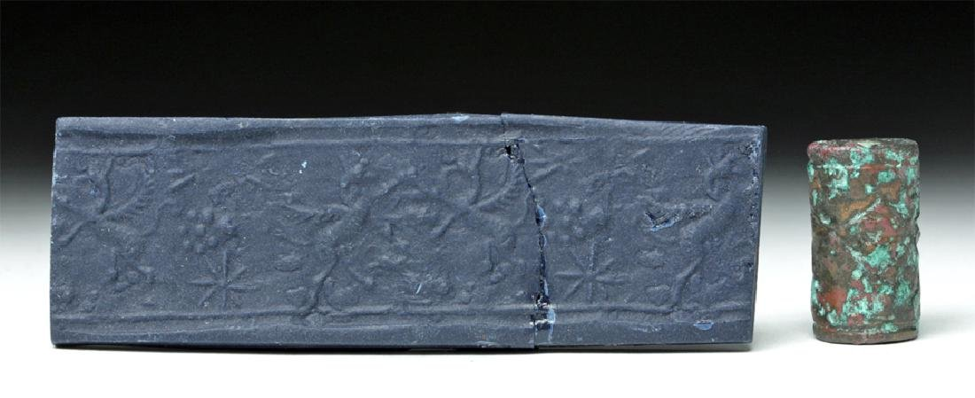Rare Mesopotamian Bronze Cylinder Seal & Rollout
