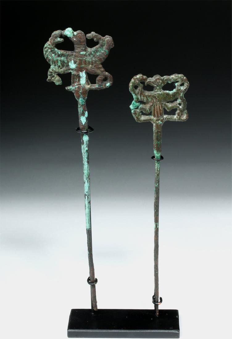 Pair of Luristan Bronze Clothes Pins, Master of Animals