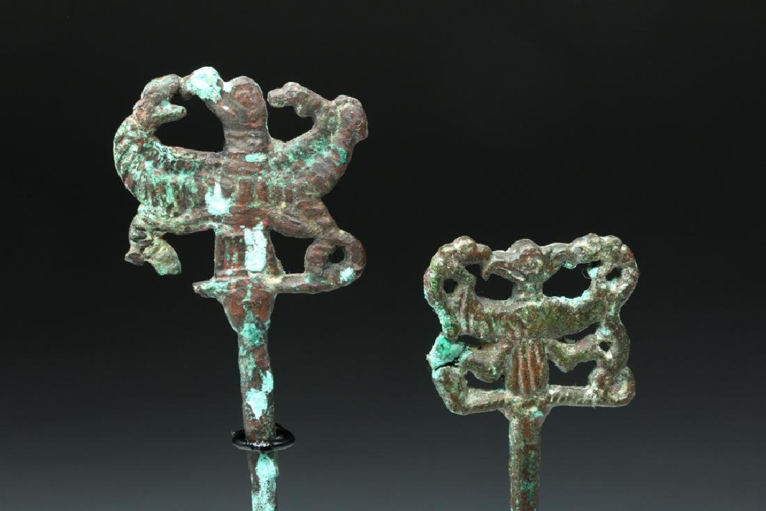 Pair of Luristan Bronze Clothes Pins, Master of Animals - 2