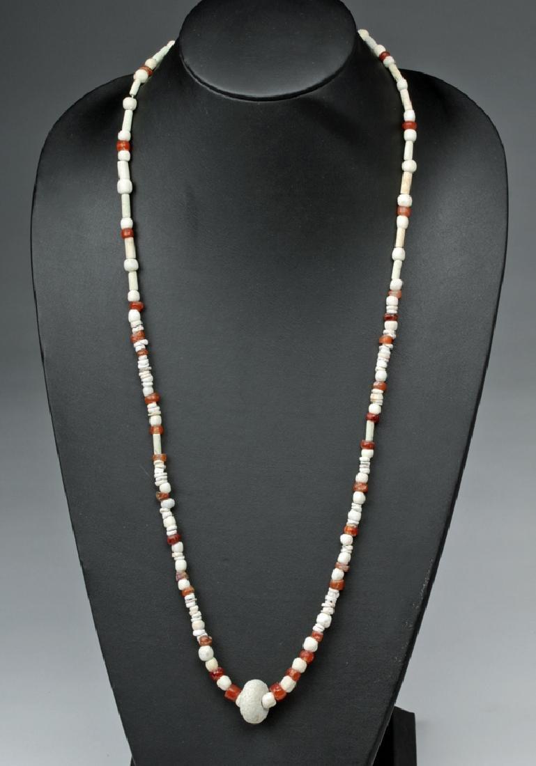 Early Parthian Carnelian & Faience Beaded Necklace