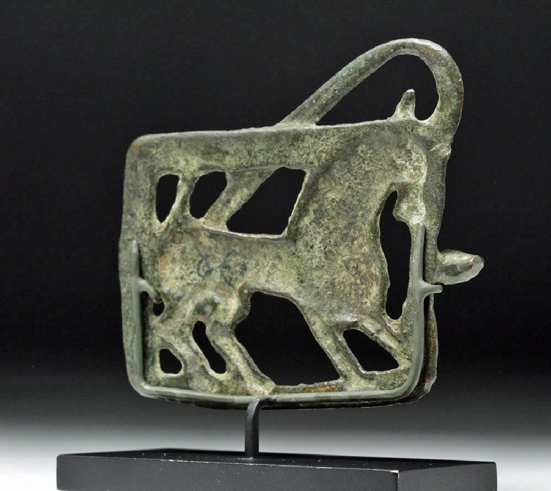 Ancient Central Asian Bronze Belt Buckle - Ibex - 3