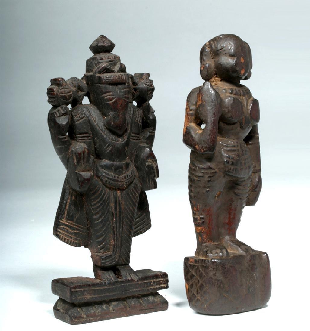 17th C. Indian Carved Wood Figures - Vishnu, Mohini