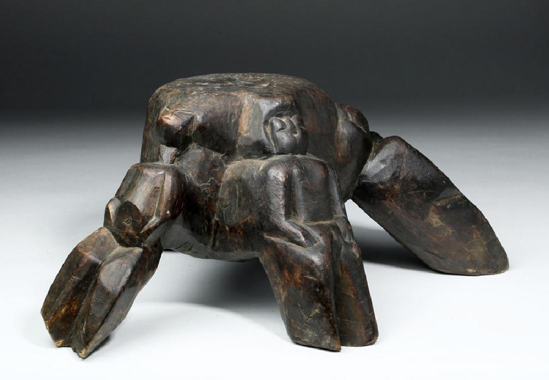 19th C. Naga Carved Wood Stool - Humanoid Legs