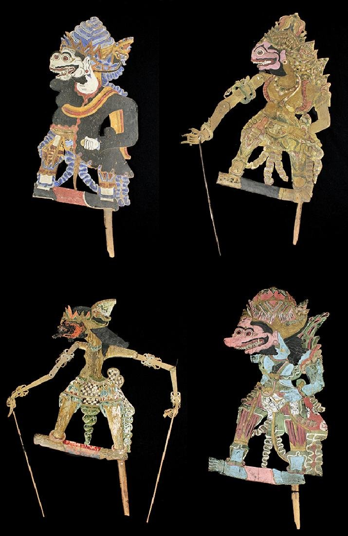 Lot of 4 Early Indonesian Wooden Figural Puppets