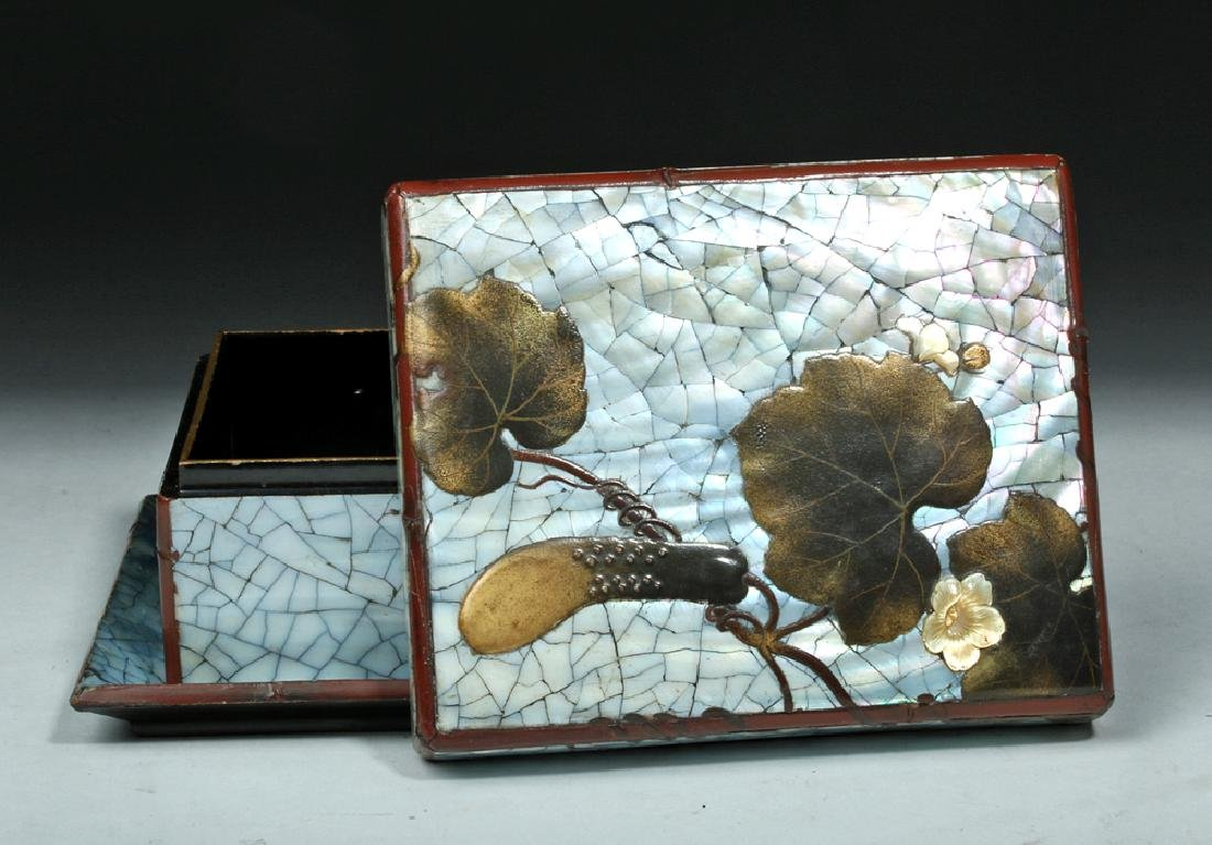 17th C. Japan Edo Mother-of-Pearl Lacquer Box w/ Tray