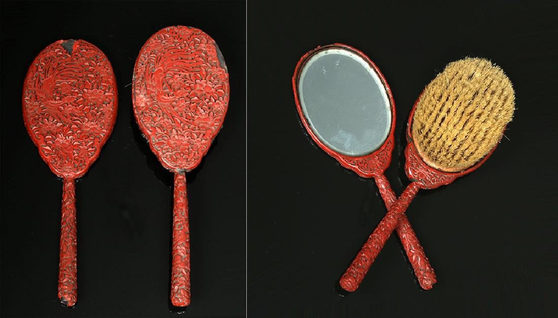 19th C. Chinese Qing Cinnabar Brush & Mirror Set