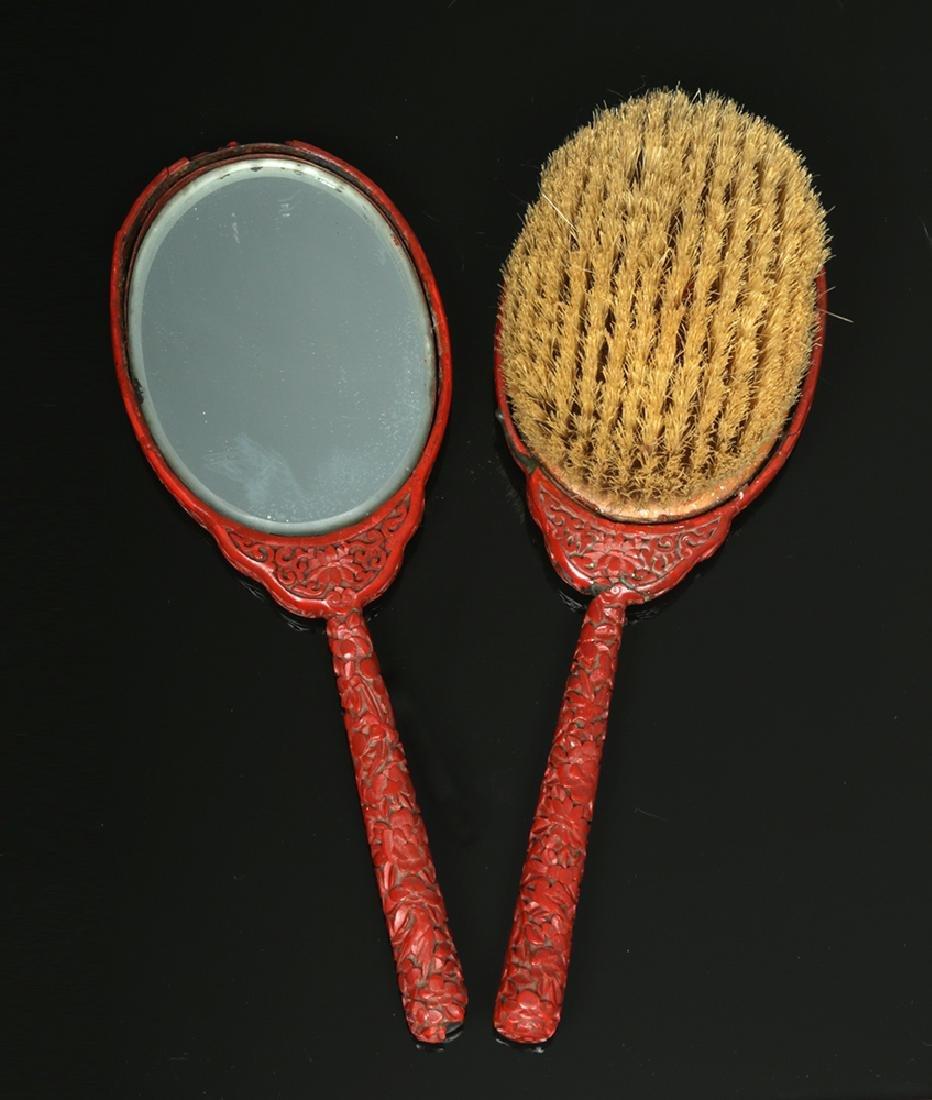 19th C. Chinese Qing Cinnabar Brush & Mirror Set - 2