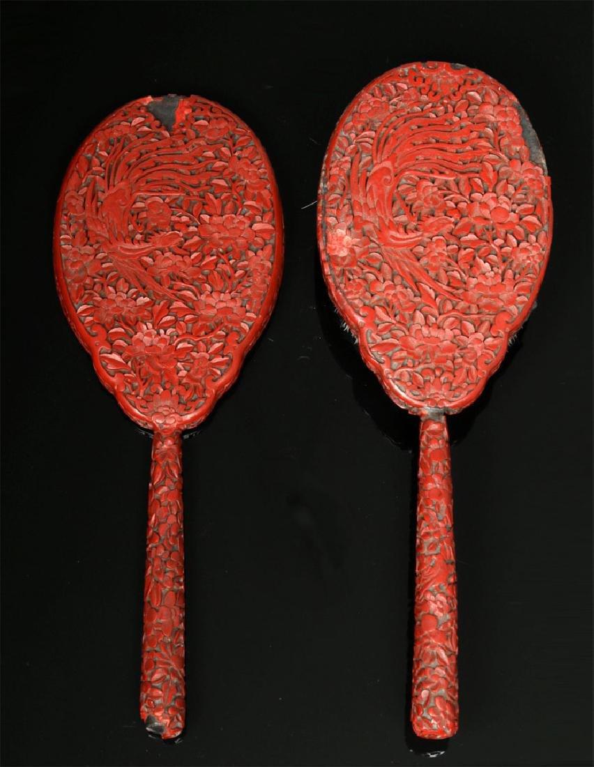 19th C. Chinese Qing Cinnabar Brush & Mirror Set - 3