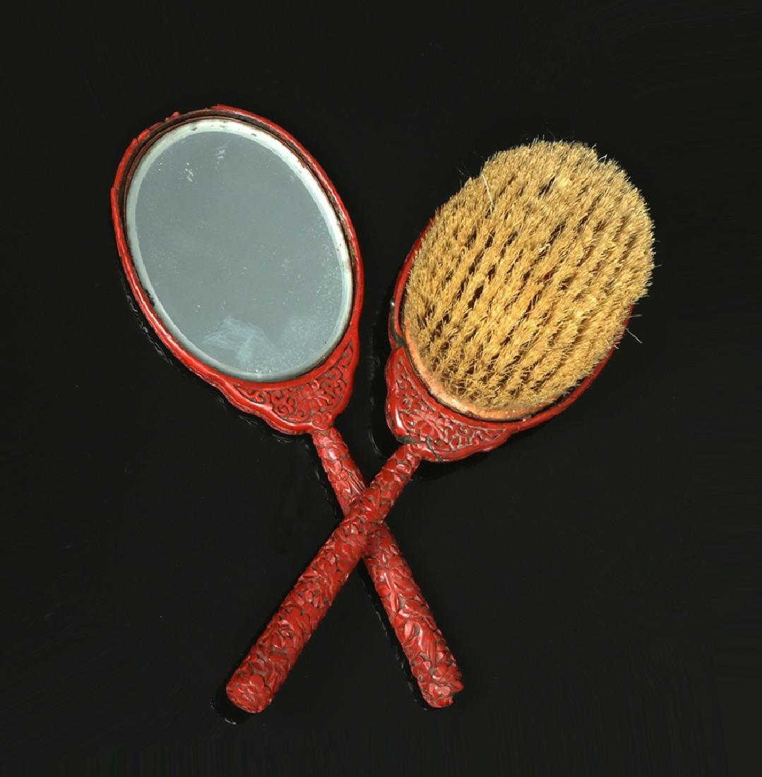 19th C. Chinese Qing Cinnabar Brush & Mirror Set - 5