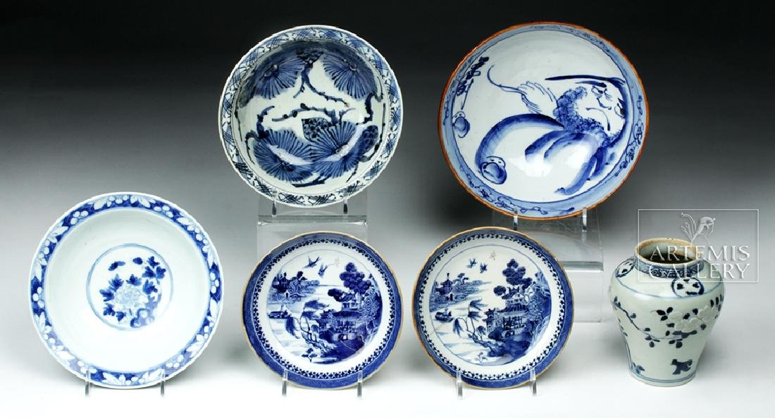 19th C. Chinese Blue Ware Porcelain Vessels (6)