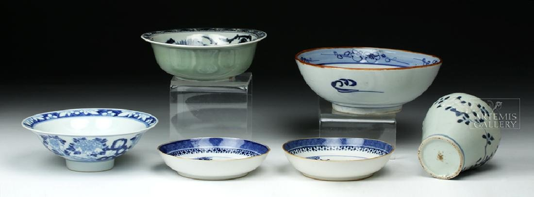 19th C. Chinese Blue Ware Porcelain Vessels (6) - 3