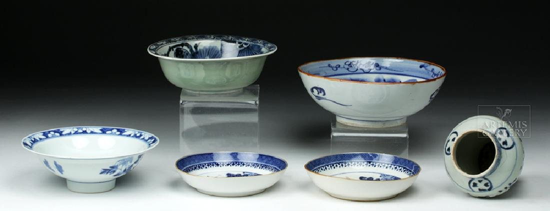 19th C. Chinese Blue Ware Porcelain Vessels (6) - 5