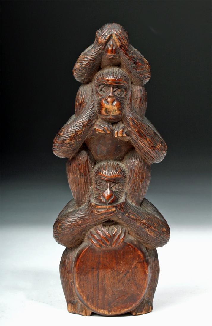 Meiji Period Wooden Japanese Monkey Totem