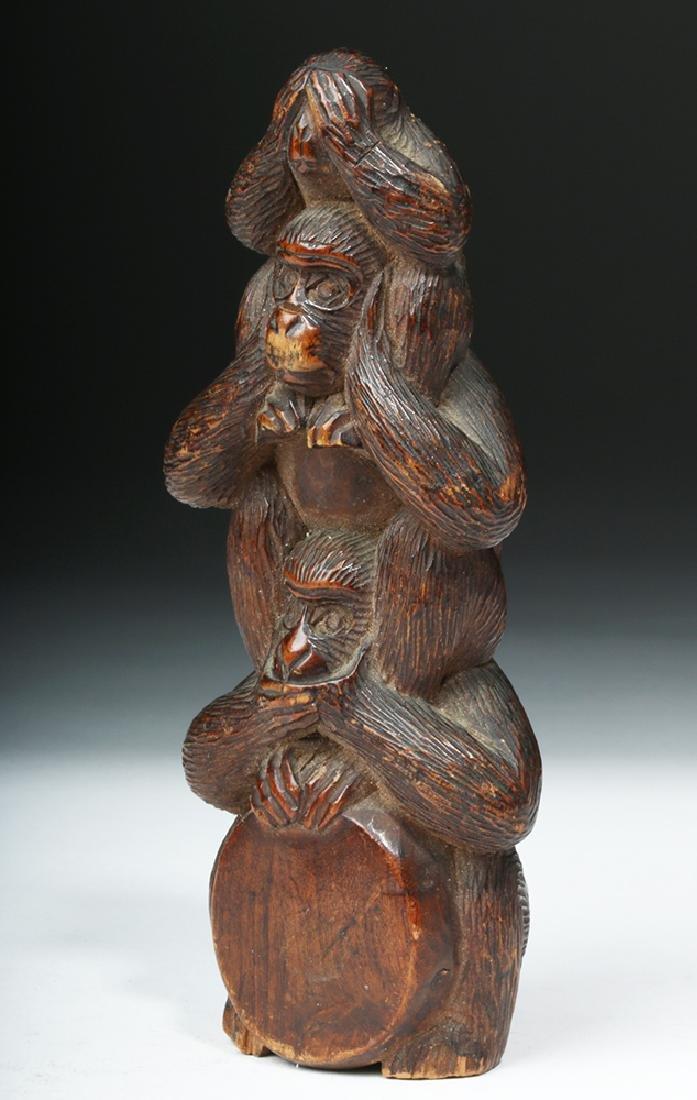 Meiji Period Wooden Japanese Monkey Totem - 2