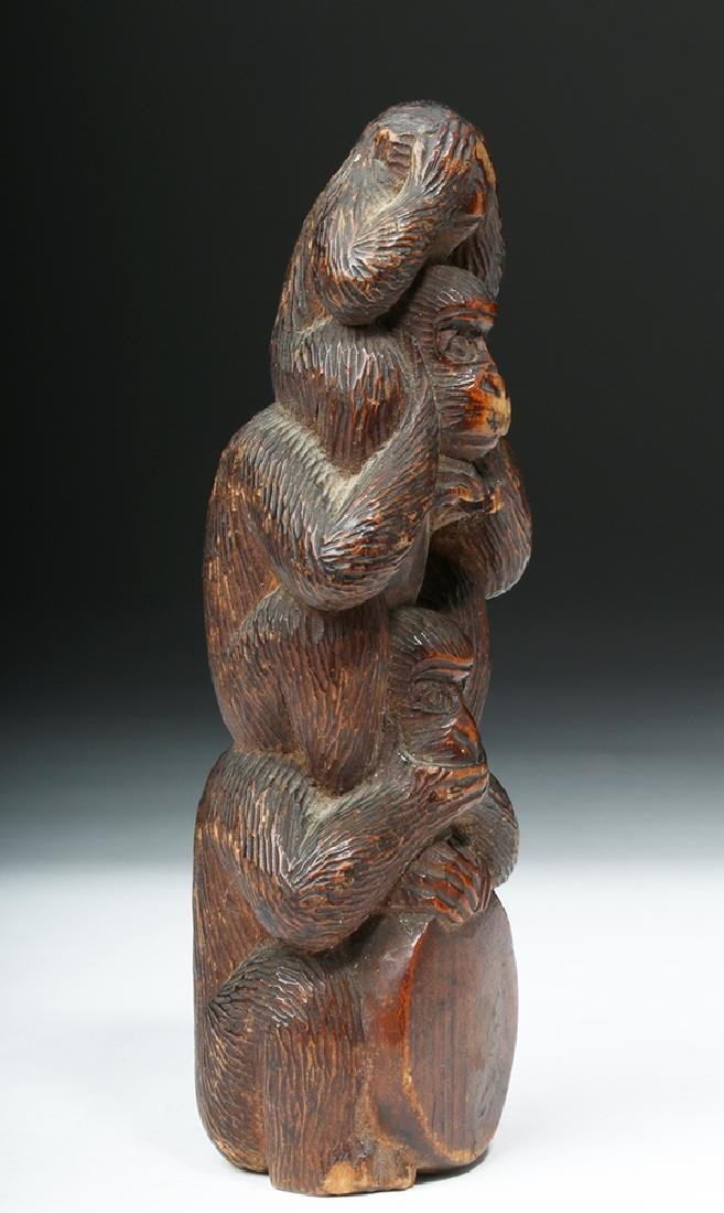 Meiji Period Wooden Japanese Monkey Totem - 3