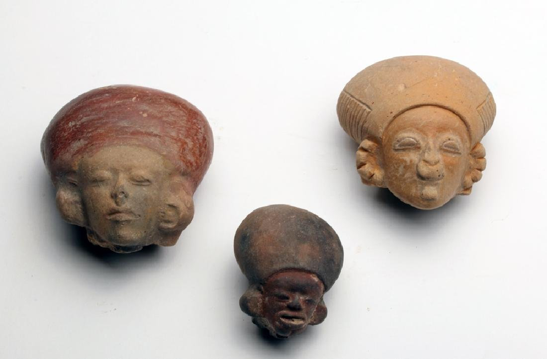 Lot of 3 Terracotta Statuette Heads, Jama Coaque