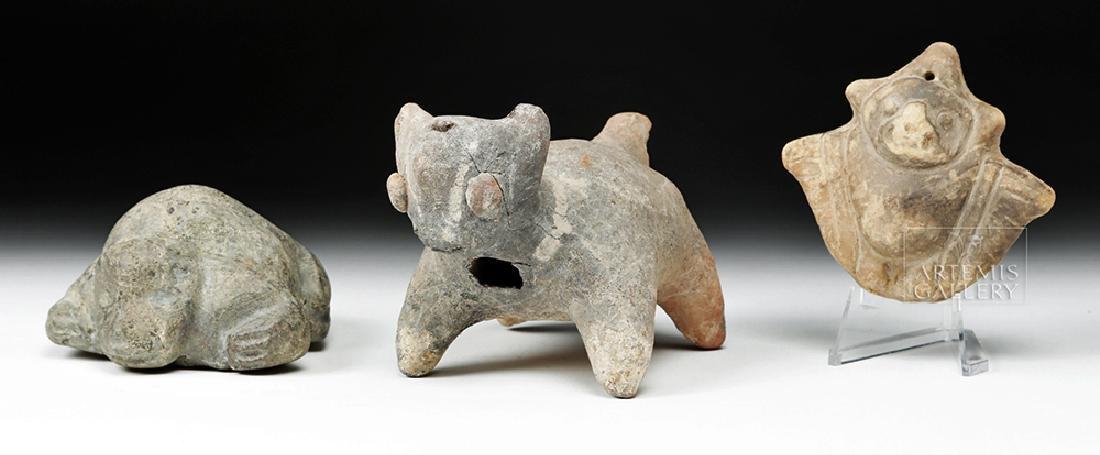 Trio of Pre-Columbian Stone and Pottery Effigies